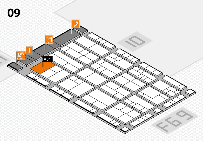 K 2016 hall map (Hall 9): stand A04
