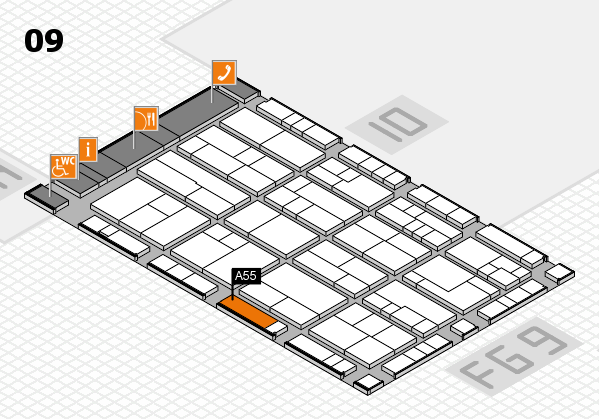 K 2016 hall map (Hall 9): stand A55