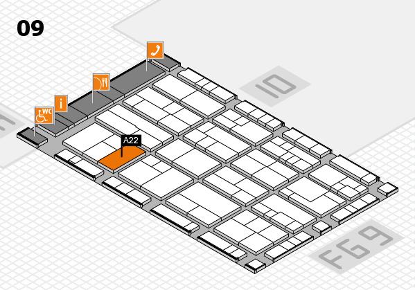 K 2016 hall map (Hall 9): stand A22