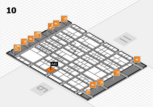 K 2016 hall map (Hall 10): stand A40