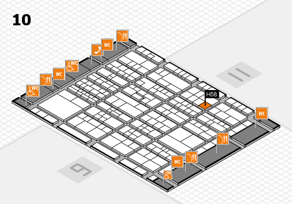 K 2016 hall map (Hall 10): stand H58