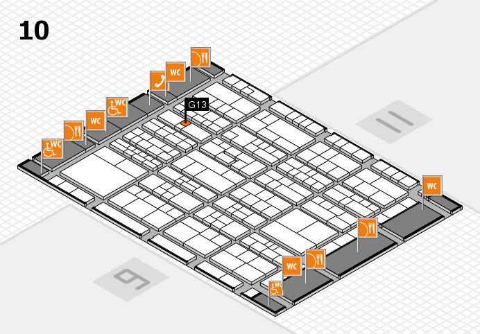 K 2016 hall map (Hall 10): stand G13