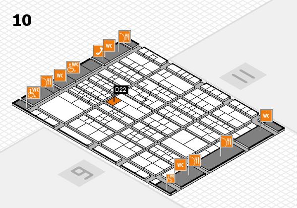 K 2016 hall map (Hall 10): stand D22