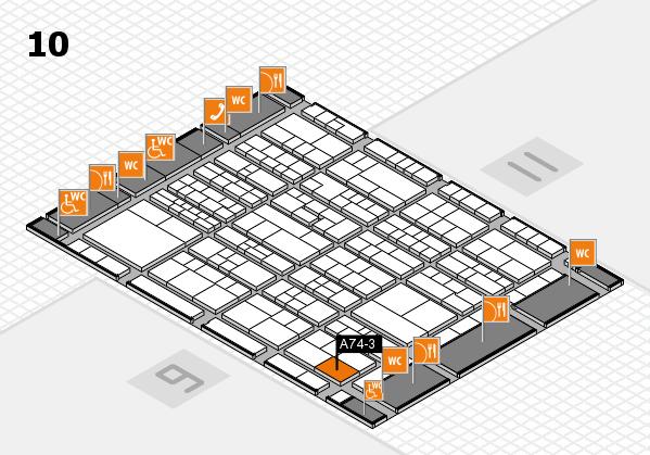 K 2016 hall map (Hall 10): stand A74-3