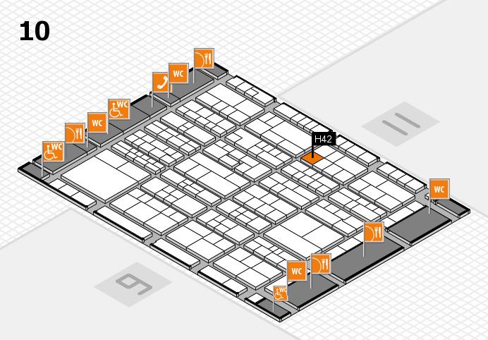 K 2016 hall map (Hall 10): stand H42