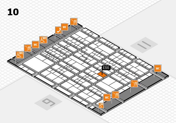 K 2016 hall map (Hall 10): stand E55