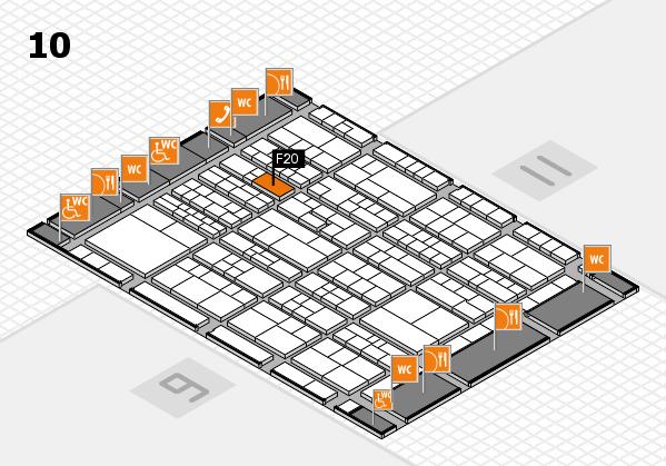 K 2016 hall map (Hall 10): stand F20