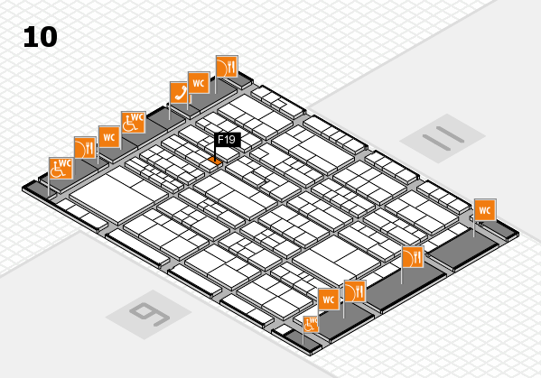 K 2016 hall map (Hall 10): stand F19
