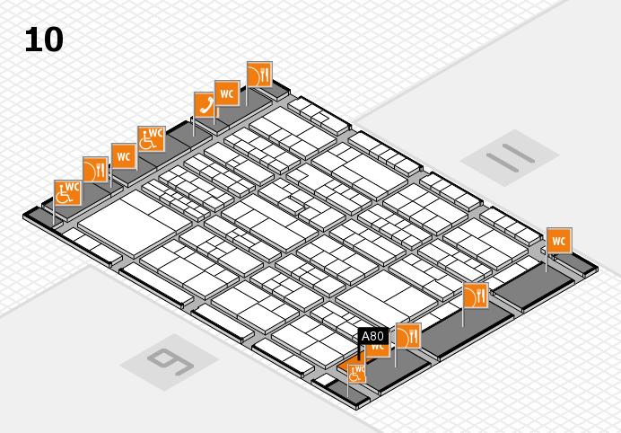K 2016 hall map (Hall 10): stand A80