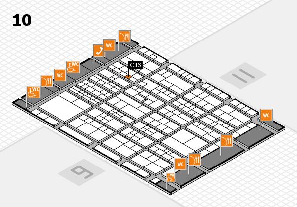 K 2016 hall map (Hall 10): stand G16