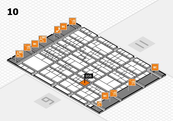 K 2016 hall map (Hall 10): stand B58