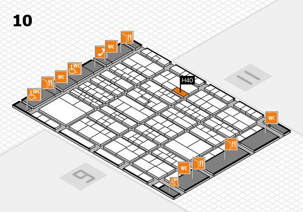 K 2016 hall map (Hall 10): stand H40