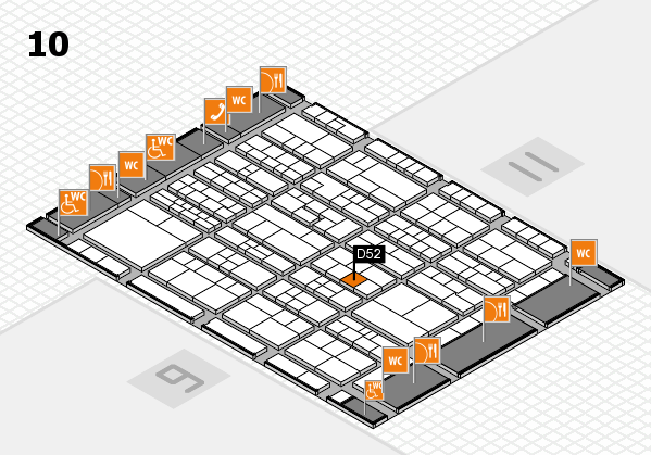 K 2016 hall map (Hall 10): stand D52