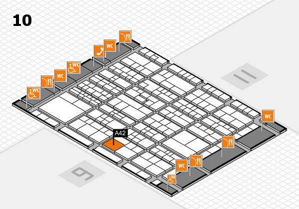 K 2016 hall map (Hall 10): stand A42