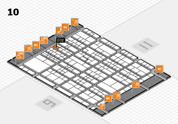 K 2016 hall map (Hall 10): stand E02