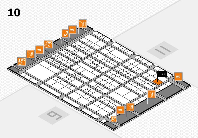 K 2016 hall map (Hall 10): stand H74