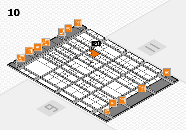 K 2016 hall map (Hall 10): stand H21