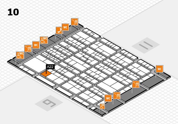 K 2016 hall map (Hall 10): stand A22