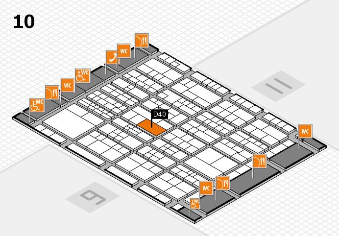 K 2016 hall map (Hall 10): stand D40