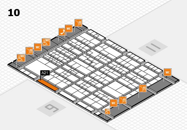 K 2016 hall map (Hall 10): stand A21