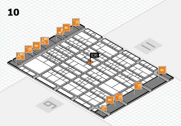 K 2016 hall map (Hall 10): stand E36