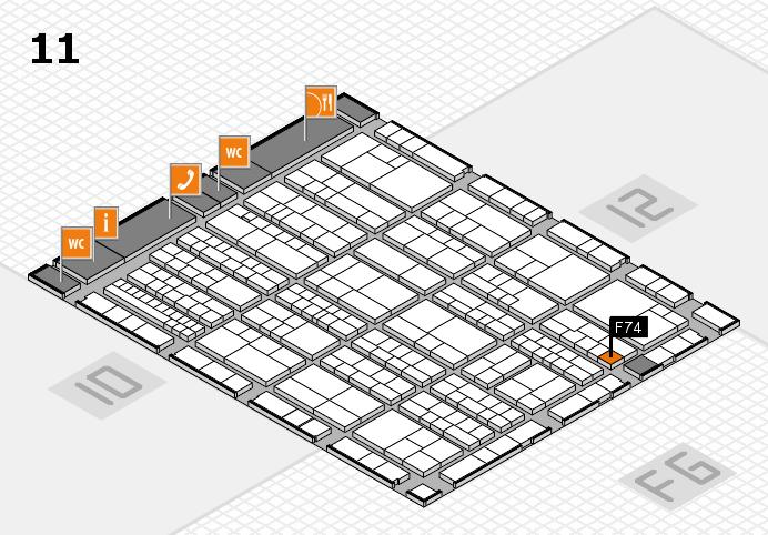 K 2016 hall map (Hall 11): stand F74