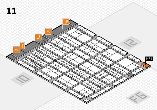 K 2016 hall map (Hall 11): stand H74