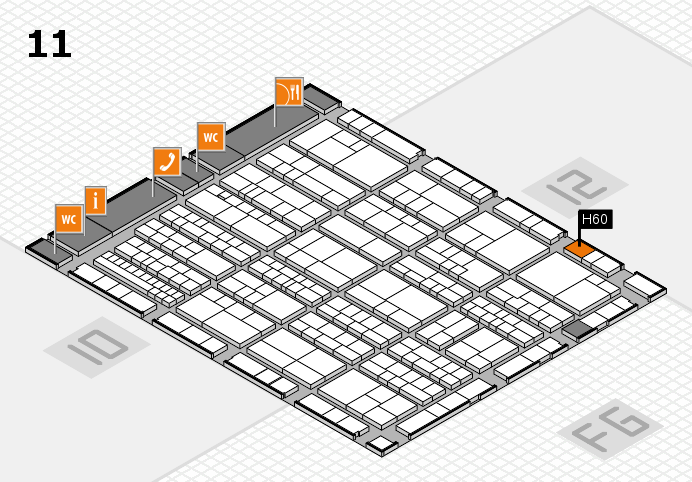 K 2016 hall map (Hall 11): stand H60