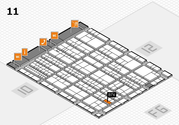 K 2016 hall map (Hall 11): stand B74
