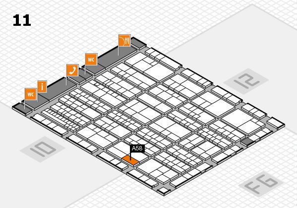K 2016 hall map (Hall 11): stand A58