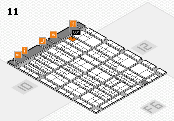 K 2016 hall map (Hall 11): stand G01