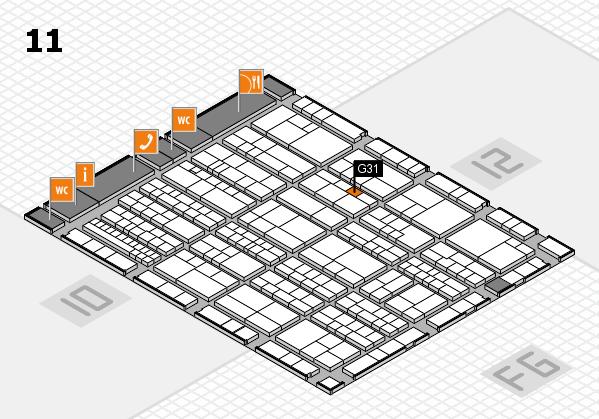 K 2016 hall map (Hall 11): stand G31