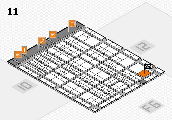 K 2016 hall map (Hall 11): stand G74