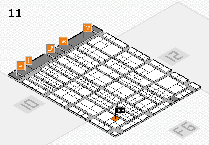 K 2016 hall map (Hall 11): stand B69