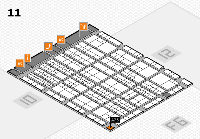 K 2016 hall map (Hall 11): stand A75