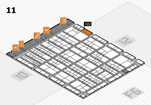 K 2016 hall map (Hall 11): stand H22