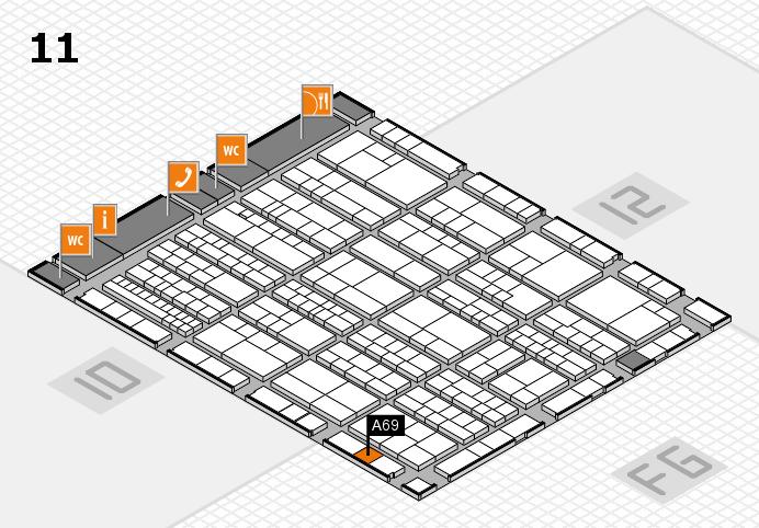 K 2016 hall map (Hall 11): stand A69