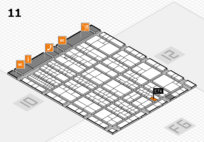 K 2016 hall map (Hall 11): stand E74