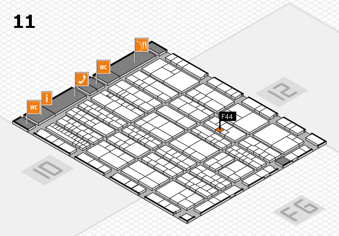 K 2016 hall map (Hall 11): stand F44