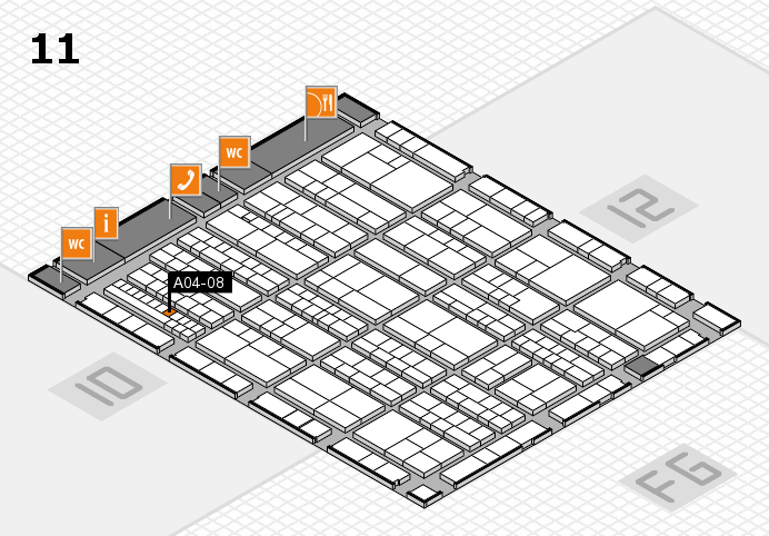 K 2016 hall map (Hall 11): stand A04-08