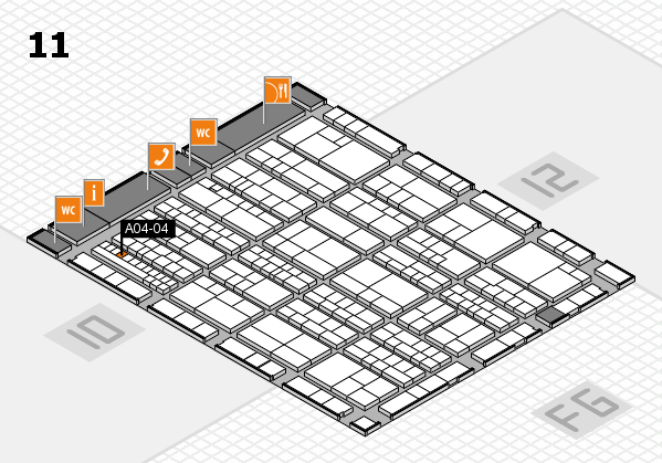 K 2016 hall map (Hall 11): stand A04-04