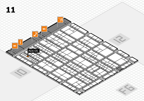 K 2016 hall map (Hall 11): stand A04-05