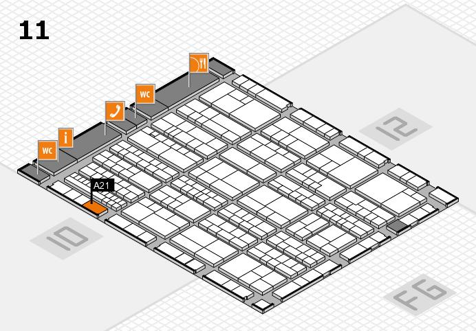 K 2016 hall map (Hall 11): stand A21