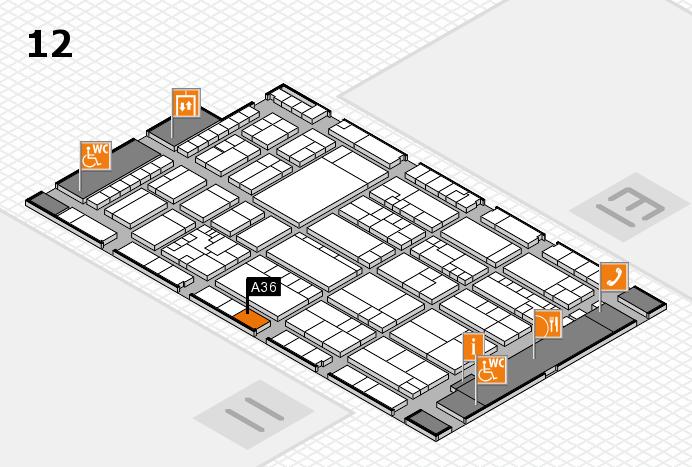 K 2016 hall map (Hall 12): stand A36
