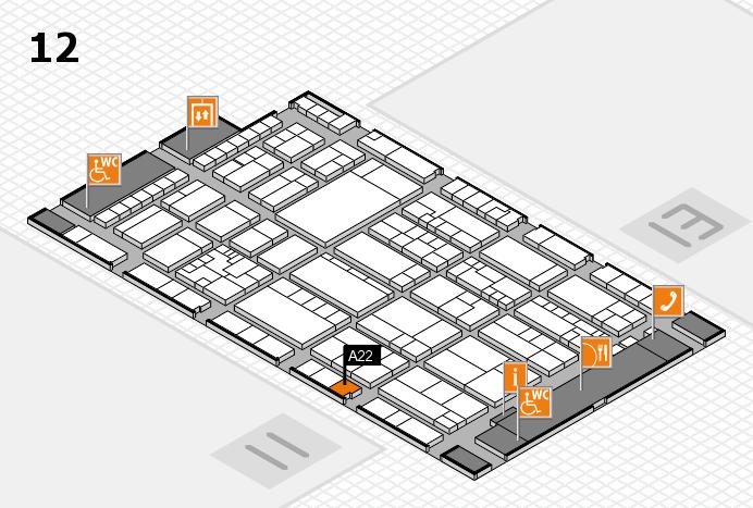 K 2016 hall map (Hall 12): stand A22