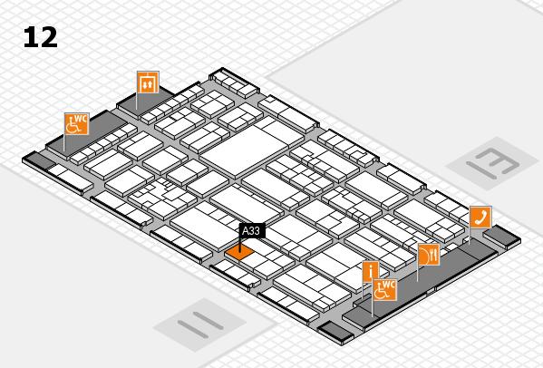 K 2016 hall map (Hall 12): stand A33