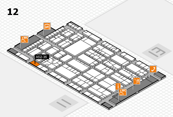 K 2016 hall map (Hall 12): stand A52-36