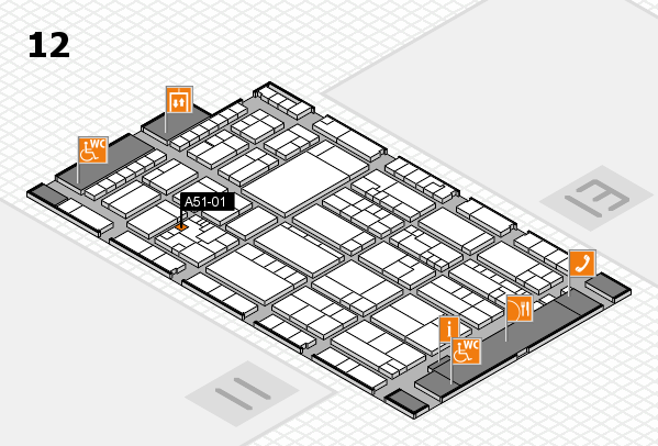 K 2016 hall map (Hall 12): stand A51-01