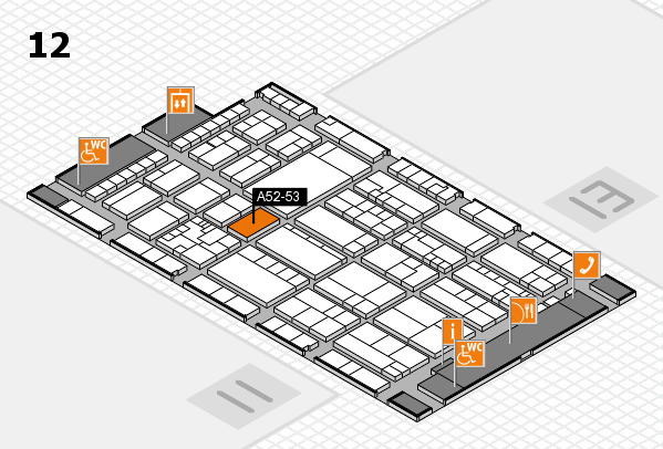 K 2016 hall map (Hall 12): stand A52-53
