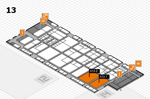 K 2016 hall map (Hall 13): stand A13-1, stand A13-2